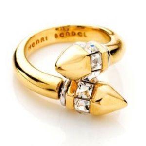 Henri Bendel Gold Wrap Ring with Crystal details
